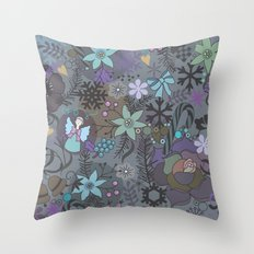 Colorful grey xmas pattern Throw Pillow