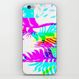 Glitch botany palm leaves set and summer jungle watercolor palm. iPhone Skin