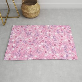 Strawberry Smoothie Paw Prints Rug