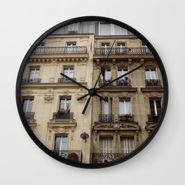 Paris apartment buildings street Wall Clock