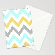 BLUE/GRAY/YELLOW CHEVRON Stationery Cards