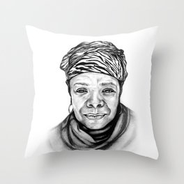 Maya Angelou - BW Original Sketch Throw Pillow