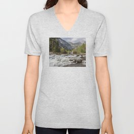 Mirror Lake and Rapids at Yosemite Unisex V-Neck