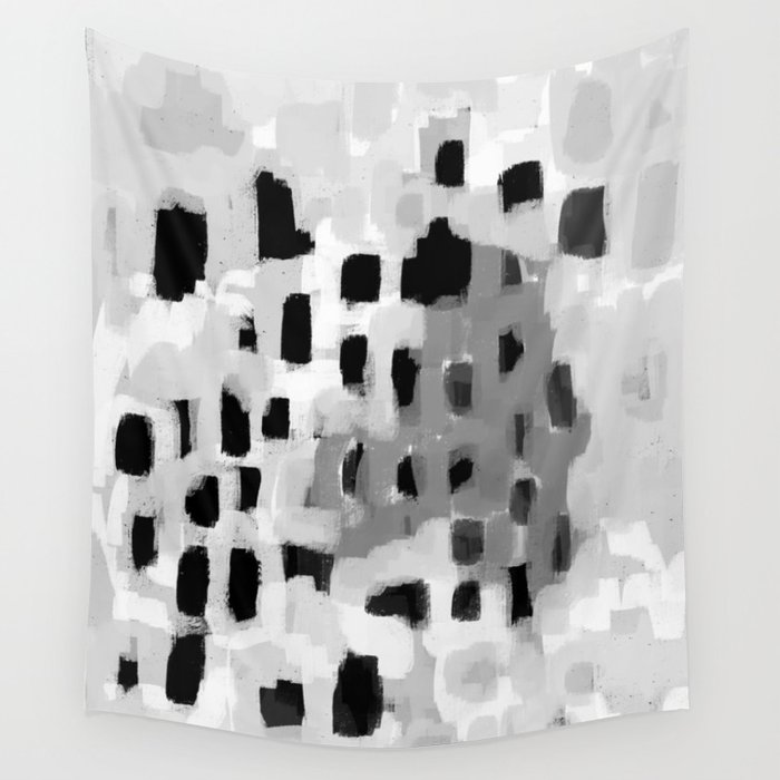 Rexa - abstract minimal modern grey black and white trendy home decor Wall Tapestry