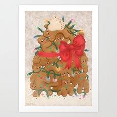 Merry Christmas from Gingerbread Men Art Print