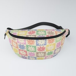 Colorful Flower Checkered Pattern Fanny Pack