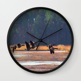 Flying Canadian Geese Wall Clock
