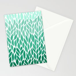 Green Ombre Leaves Stationery Cards