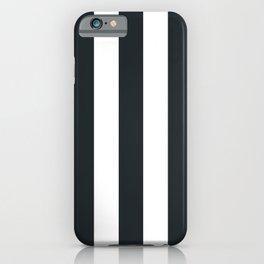 Dark gunmetal blue - solid color - white vertical lines pattern iPhone Case