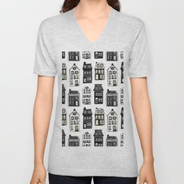Mansard Mansions in Black + White Watercolor Unisex V-Neck
