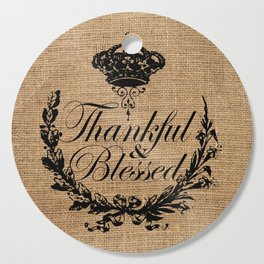 french country jubilee crown thanksgiving fall wreath beige burlap thankful and blessed Cutting Board