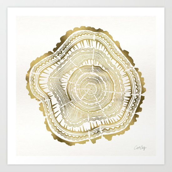 Gold Tree Rings Art Print By Cat Coquillette Society6