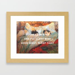 Good Night/The Bed Framed Art Print