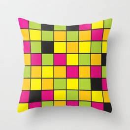 Bright neon colors square pattern Throw Pillow