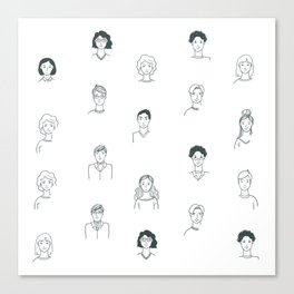 Sketchy People | Pattern Art Canvas Print