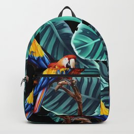 tropical leaves macaw pattern 2 Backpack