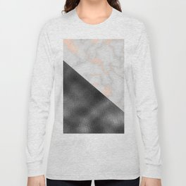 Rose gold marble and gunmetal grey storm Long Sleeve T-shirt