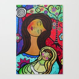 Abstract Mother and Child Painting by Prisarts Canvas Print