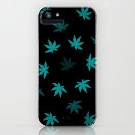 Black & Teal Kush Leaf iPhone Case