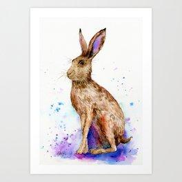 Watercolor Brown Hare Portrait Art Print
