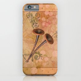 Music, pipe with clef and key notes iPhone Case