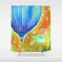 balloon Shower Curtains featuring Balloon by Carolina Coto Art