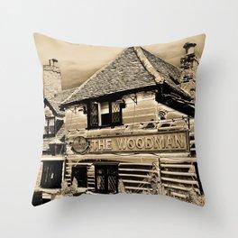 The Woodman Pub Art Throw Pillow