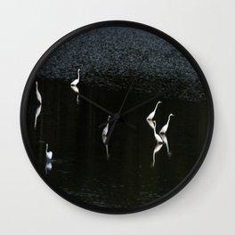 Egrets At Night Wall Clock