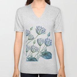 Water Lily Blue Unisex V-Neck