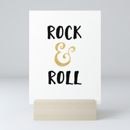 Rock and Roll Gold Quote Mini Art Print