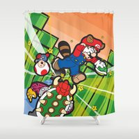 inception Shower Curtains featuring Inception Mario by thickblackoutline