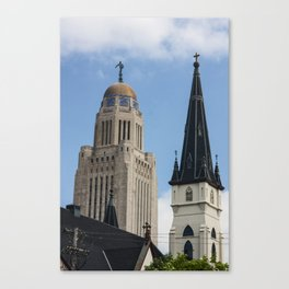 spires of lincoln nebraska, the spires of the state capitol building and Saint Marys Catholic Church Canvas Print
