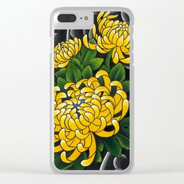 Japanese tattoo style sumi ink wash and watercolor chrysanthemum   Clear iPhone Case