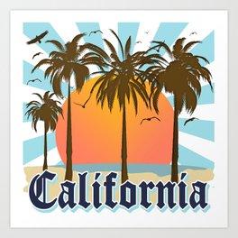 California Vintage Style Retro Cali Travel Souvenir  Art Print