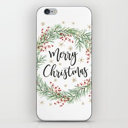 Merry Christmas wreath with red berries iPhone Skin