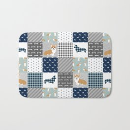 Corgi Patchwork Print - navy, dog, buffalo plaid, plaid, mens corgi dog Bath Mat