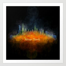 New York City Skyline Hq V04 Art Print