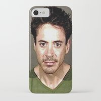 robert downey jr iPhone & iPod Cases featuring Robert Downey Jr. Mugshot by Neon Monsters