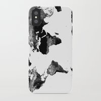 world map iPhone & iPod Cases featuring World Map  Black & White by Whimsy Romance & Fun