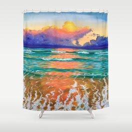 Sunset on the ocean Shower Curtain