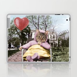 A pretty, little kitty with a heart-shaped balloon Laptop & iPad Skin