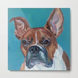 Walker the Boxer Dog Portrait Metal Print