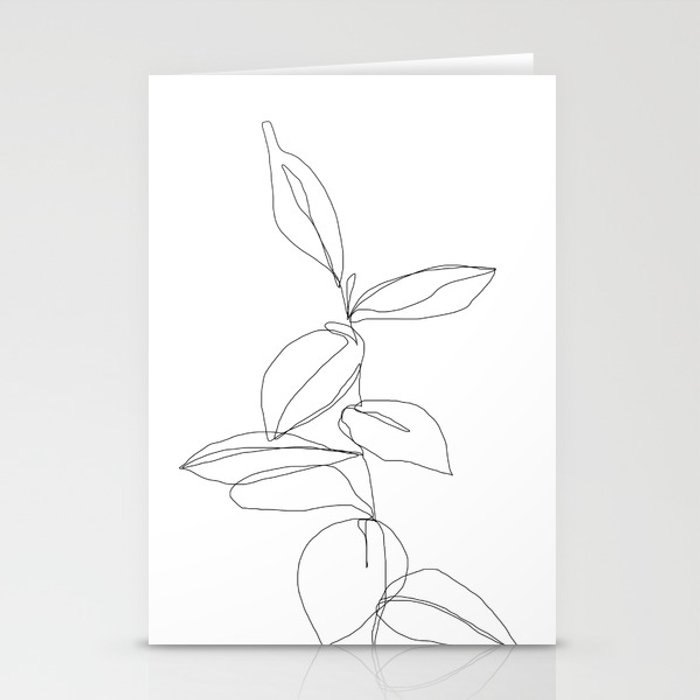 One line minimal plant leaves drawing - Berry Stationery Cards
