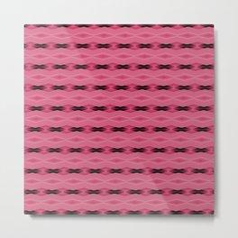 Pink and Black Diamond Pattern Metal Print