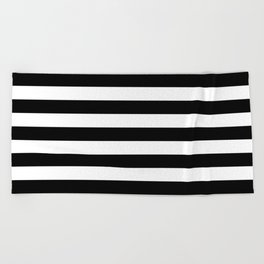 aef608898d990 Black and White Medium Stripes Pattern Beach Towel