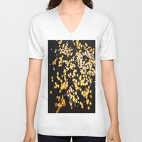 gold glitter V-neck T-shirts featuring Glitter Gold Yellow Twinkle Stars by Masanori Kai