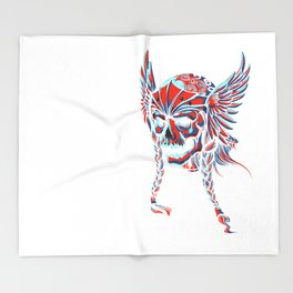 Death Flying Skull Throw Blanket