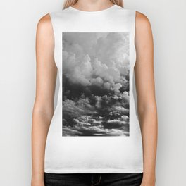 White fluffy Clouds Black And White photo Biker Tank