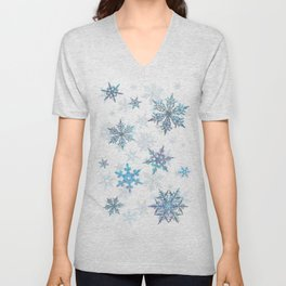 """""""Embroidered"""" Snowflakes on white canvas Unisex V-Neck"""