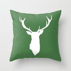 Green Deer Antlers Throw Pillow
